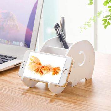 Office Desktop Creative Cute Elephant Phone Holder Stand for Smartphone Pen