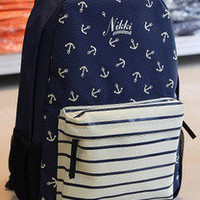 Fashion Blue Anchor Backpack