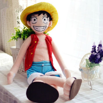 "32""/80cm ONE PIECE Monkey.D.Luffy anime plush big size figure / toys soft stuffed cloth doll as chrismas gift 1 pcs"