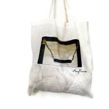 canvas tote bag  Chanel  Shopper  Printed by Floralchic on Etsy