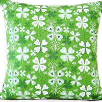 St. Patricks Day Pillow Cover Shamrocks Kelly Green White Decorative 18x18
