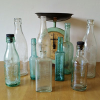 Vintage Glass Bottles Collection of 9 Daddies and Osmonds Electra Fluid with Stopper Medicine Bottle with Tablespoon Measurement Green Clear