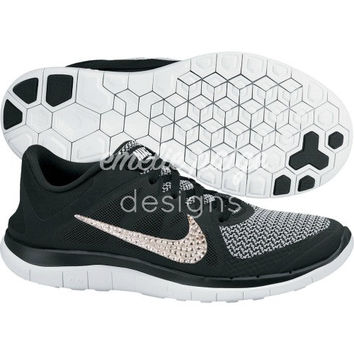 Nike Free 4.0 (Black) running shoes with Swarovski Crystals
