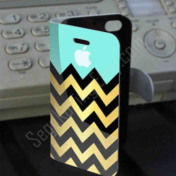 Chevron Gold Black Apple PVC (syntetic) Leather Folio Case for iPhone and Samsung Galaxy