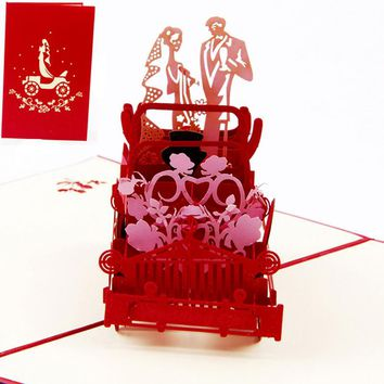 3D Pop Up Vintage Car Greeting Valentine Invitation