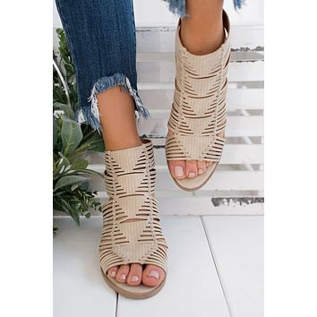 Sweetest Treat Strappy Booties (Stone)