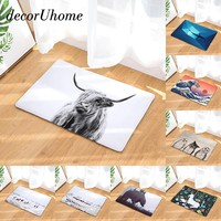 decorUhome Anti-Slip Waterproof Floor Mat Geometry Owl Bear Kitchen Rugs Bedroom Carpets Decorative Stair Mats Home Decor Crafts