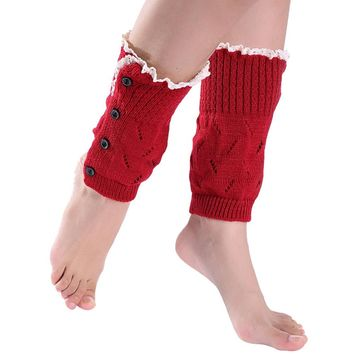 DZT1968® Women's Girl's Knit Button Leg Warmer Boot Cuffs Socks Cover With Lace