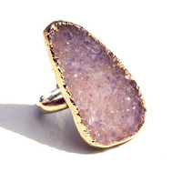 African Violet Druzy Ring - Statement Ring in 14k Gold