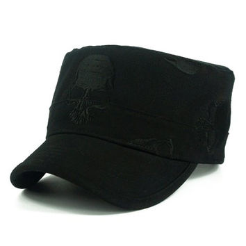 Skull Pattern Embroidery Black Military Style Hat For Men
