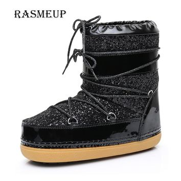 RASMEUP Women's Space Boots Winter Lace Up Plush Inside Warm Women Snow Ankle Boots Casual Woman Sequins Flat Work Safety Shoes