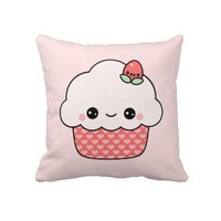 Cute Strawberry Cupcake Throw Pillow from Zazzle.com