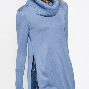 Blue Side-Slit Turtleneck Tunic