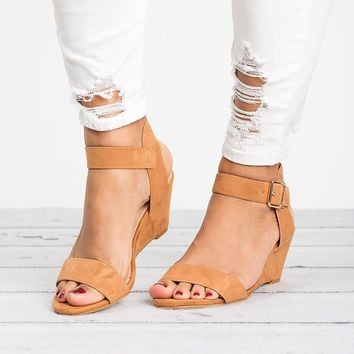 Ankle Wrap Camel Wedge Sandals