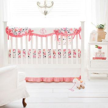 Floral Rosewater in Coral Baby Bedding Set