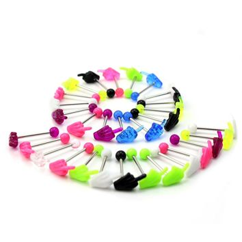 30pcs/Lot New Mixed Colors Hands Shape Tongue Bars Rings Barbell Punk Style Body Piercing Jewelry