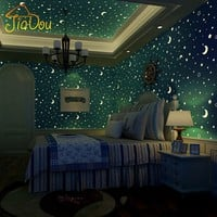 Non-woven Luminous Wallpaper Roll Stars And The Moon Boys And Girls Children's Room Bedroom Ceiling Fluorescent Wallpaper Decor