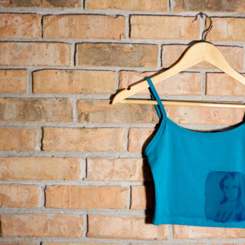 The Lana Del Rey II- Teal Blue Crop Tank Top. Size S