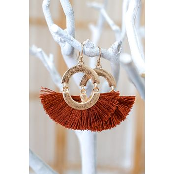 On The Fringe Earrings - Rust
