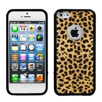 One Tough Shield ® Hybrid Flexible/Rigid Phone Case (Black/Gold Cheetah) with Clear Screen Protector for Apple iPhone 5 5s