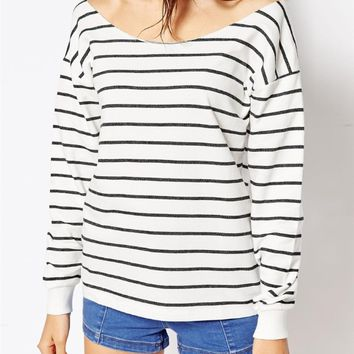 White Stripe Off Shoulder Loose Shirt