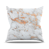 "KESS Original ""Rose Gold Flake"" White Pink Outdoor Throw Pillow"