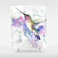 Hummingbird and Soft Purple Flowers Shower Curtain by SurenArt