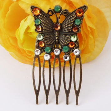 Small hair comb butterfly, colourful, vintage, hair accessoires, glitter hair comb, antique