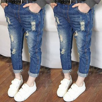 Broken Hole Girls Jeans 2017 New Summer Spring Boys Trousers Kids Pants Jeans for Toddler Girls Boys Children Clothing