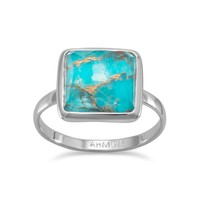 Large Square Freeform Faceted Clear Quartz over Turquoise Stackable Ring