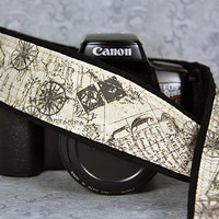 Old World Map Camera Strap, dSLR, Nautical, Antique Vintage style,198 w