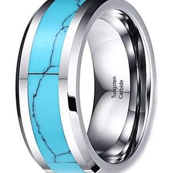 CERTIFIED 8mm High Polished Tungsten Carbide Wedding Band Turquoise Beveled Edge
