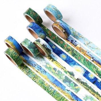 1 x Van gogh's classic 1.5 cm X 7 m Hand to tear tape children diy scrapbooking Diary decoration masking tape stationery
