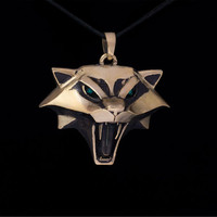 Cat School Medallion Pendant, Witcher, brass, handmade, Ciri Medallion