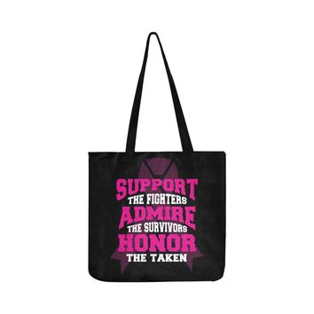 Support The Fighters Admire The Survivors Honor The Taken V2 Breast Cancer Awareness Pink Ribbon Reusable/Water Resistant Shopping Bags (8 colors)