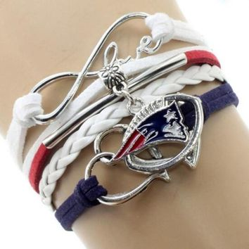 Infinity Love New England Patriots Multi-Strand Bracelet Football Team Charm Bracelets & Bangles Sport Women Men Jewelry 6PCS