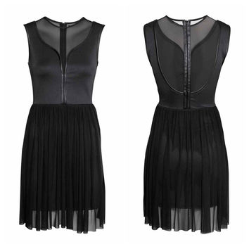 Sleeveless Mesh Sheath Mini Pleated Dress