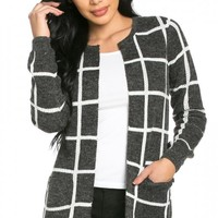 Cozy Open-Front Windowpane Cardigan in Charcoal