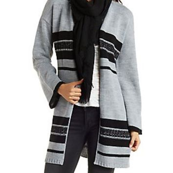 STRIPED DUSTER CARDIGAN WITH BELT