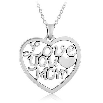 """925 Sterling Silver """"Love You Mom"""" Heart Mother's Day Pendant Necklace, 18 inches"""