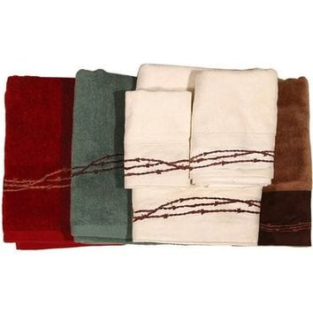 Three-Piece Embroidered Barbed Wire Bath Towel Set - Brown