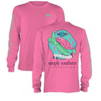 """Simply Southern """"Preppy Turtle"""" Long Sleeve - Hot Pink"""