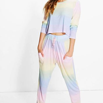 Eva Ombre Long Sleeve And Jogger Lounge set | Boohoo
