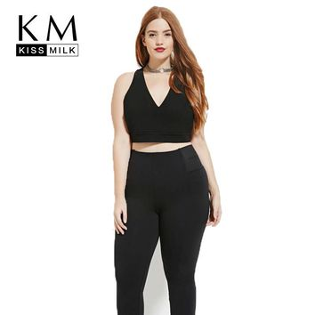 Kissmilk Plus Size 2018 Women Summer Vest Back Cross V-Neck Sexy Sleeveless Solid Color Vest Crop Tops Street Basic Tank