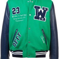 Green and Navy Wool Varsity Bomber Jacket by OFF-WHITE