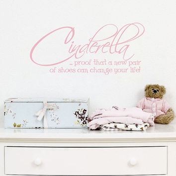 Vinyl Wall Quote - Cinderella New Pair Of Shoes Decal Lettering Decor For Girl Baby Nursery Vinyl Wall Art 10H x 22W CQ021