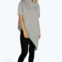 Layla Cowl Neck Knitted Jumper With Asymmetric Hem