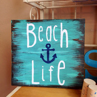 Beach Life Wooden Sign, Nautical Sign, Beach Sign, Beach Decor, Nautical Decor