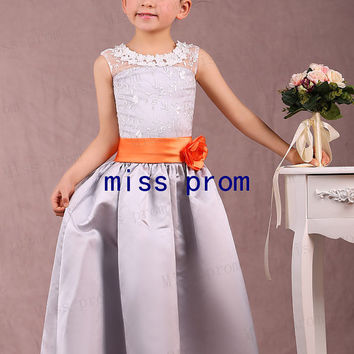 Scoop neck line lace with satin sash flower girl dress with flowers