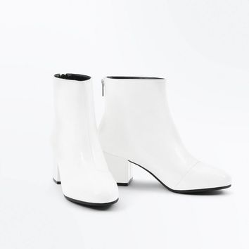 Wide Fit White Patent Block Heel Ankle Boots | New Look